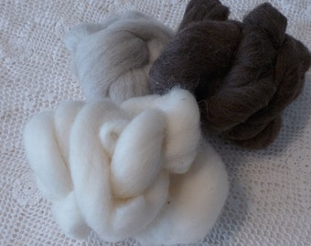 Roving De stash Neutrals Natural Wool Felting Supply Destash Animal colors Craft Supply Lot