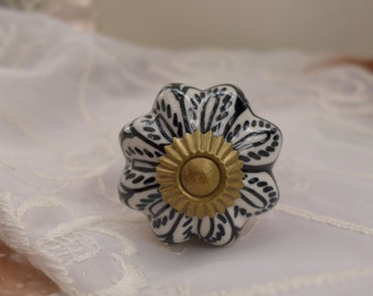 Ceramic Knob Pull with hand painted details retro look