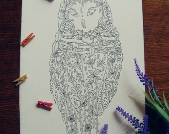 Owl colouring page//Adult colouring page//printable page//printable art//Owl art//Nature art//Wildlife art//pen and ink drawing