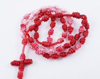 Knotted Cord Rosary - Red & Pink - Hospital Safe and Great for Small Children - Baptism First Communion Gift, Stocking Stuffer