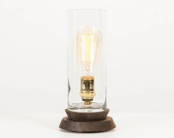 lantern pedestal lamp modern table lamp edison bulb lamp oak nickel - Modern Table Lamp