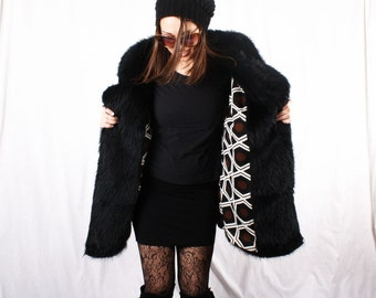 Vintage 70s Shag Faux Fur Black Coat