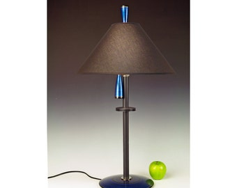 Lamp for side table, bedside or desk. 266. Hand painted. Blue Teal. Matching finial and pull chain. Matching pair available.
