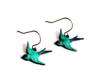 Tiny Teal Bird Earrings, Turquoise Brass Earrings, Blue Bird Earrings, Patina Brass Bird Pierced Earrings, Bird Jewelry, Bird Lovers Gift