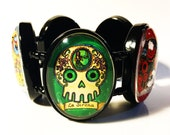 Glass Dome Calavera Loteria Bracelet - Day of the Dead - Original Artwork
