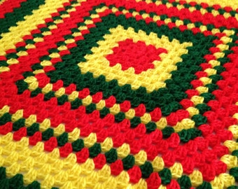 Rasta Bob Marley Baby Blanket Crochet Red Yellow  Green Child Stroller Carriage Car Size 38 x 39 Handmade