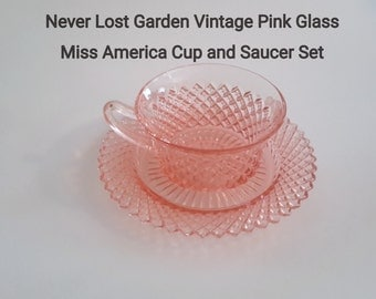 Hocking Miss America Pink Glass Cup and Saucer Vintage