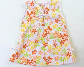 Vintage Little Girls MOD Floral Flower Power Tunic Shirt Dress -Bright-FUN-Summer-