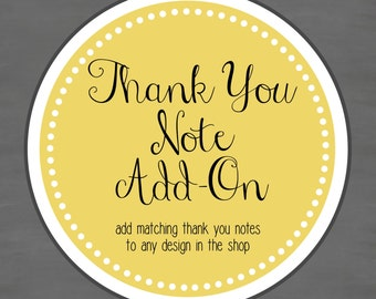 Thank You Note Card Add-on -- Add matching thank you cards to any design in the shop