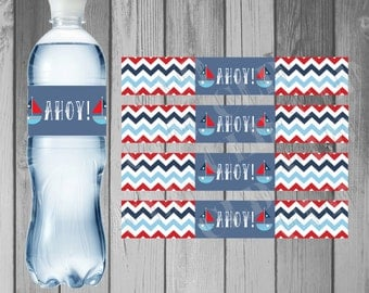 Water Bottle Label Birthday Party Printable Water Bottle Instant Download Nautical Birthday Printable Nautical Anchor Blue Chevron