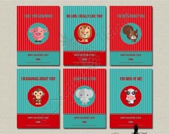 Digital Printable Animal Valentines Day Cards Kids Valentines Cards Childrens Classroom Valentines Digital Download Instant Download DT1797