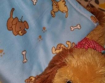 Puppy Print Minky  & Flannel Receiving Blanket