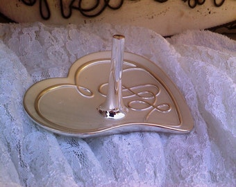 Ring holder, jewelry holder, dainty heart, silver plated heart, brush silver ring holder