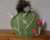 Hand Knitted Tea Cosy - Hedgehog in the meadow - as seen on Gogglebox