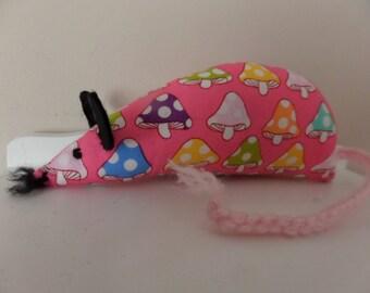 Catnip Mouse - Pink Toadstools Mushrooms design - Cat Toy