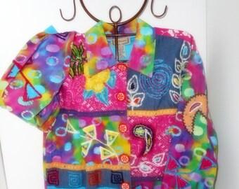 Boho Clothing,Hippie Jacket, Vintage Shirt Jacket, Embellished Lightweight Coat