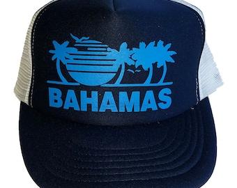 Navy Blue Bahamas Snapback Mesh Trucker Hat Cap