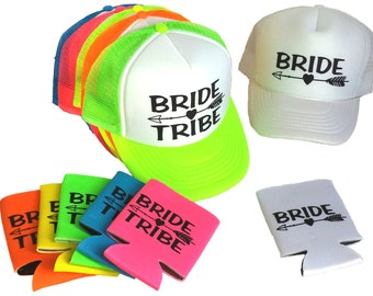 Single Set Bride Tribe Snapback Mesh Trucker Hat Cap & Matching Can Cover  Team Bride Bachelorette