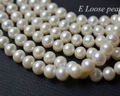 80% Large Hole pearl 8.5-9.5mm Button pearl natural white Freshwater Pearl, Necklace pearl Loose Beads full Strand PL2264