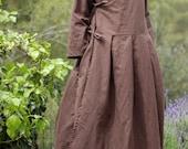 Wrap dress - Feminine Linen dress - Maternity dress - Brown Rustic dress - Boho Bohemian dress - Loose Cardigan - Maxi Loose Fitting Dress