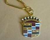 Cadillac Key Chain Keychain Key Ring Enamel Luxury Car Vintage 80s Use for Charm Bracelet Pendant