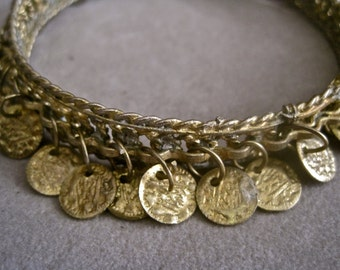 Gypsy Coin Bracelet Boho Festival Hippie Ethnic Gold Tone Upper Arm LARGE SIZE Vintage 70s Belly Dancer Tribal Primitive Folk