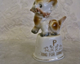 Dog Porcelain Bell Pepper Shaker Ring for Supper: Vintage 50s ADORABLE PUP Dinner Bell