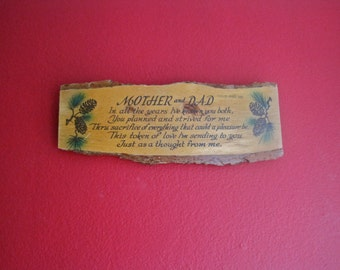 Wooden Plaque MOTHER and DAD Hand Painted 1950s 50s Collectible Souvenir from Oregon Caves OREGON Poem Ode Token of Love Pine Cones