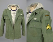 Vintage HBT Herringbone Weave Distressed WWll Military Airborne Army Utility Field Jacket