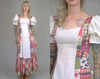 70s Patchwork Festival Dress Empire Waist Bohemian Maxi Dress