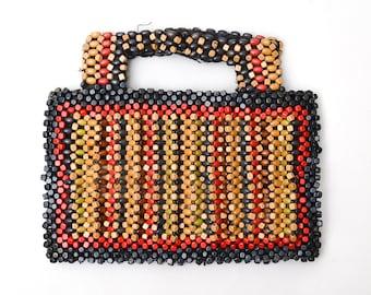 1930s Wood Beaded Purse Colorful Deco 30s Beaded Handbag