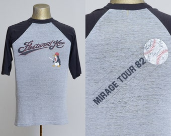 1982 Fleetwood Mac Mirage Tour Black & Grey Baseball T Shirt