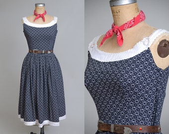 1950s German Folk Dirndl Style Pinup Cotton Day Dress