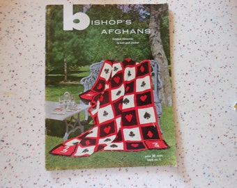 Bishop's Afghans to crochet and knit pattern book..published in 1950...hard to find