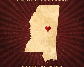 "Mississippi ""I'm In a Southern State of Mind"" Classic Vintage Style Plaque / Sign Decorative & Custom Color"