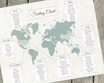 Wedding Seating Chart, Personalized Table Seating Plan, Travel Wedding Decor, Map Wedding Decor