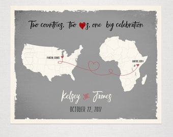 USA AFRICA Custom Wedding Print Destination Wedding Gift Memento Marriage Couple print Alternative Signature Guest Books Signature Map