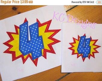 50% OFF SALE Super Hero Burst Number 4 Machine Applique Embroidery Design - 4x4, 5x7 & 6x8