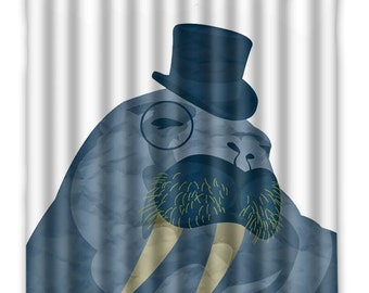 I Am The WALRUS Shower Curtain - Walrus Shower Curtain - Walrus In Top Hat - Beatles Walrus Song - Bathroom Decor - Home Decor - Walrus