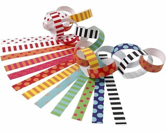 Funky Paper Chains Kit - Bright Spots & Stripes - Party Decoration 400 Strips