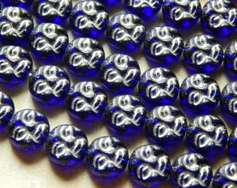 9.5mm Cobalt Silver Inlay- Czech Pressed Glass - Moon Face Beads, 15 PC (INCHOC597)