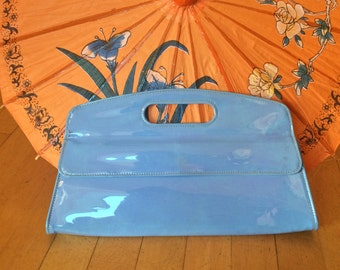 1950's Robin's Egg Blue Vinyl Clutch