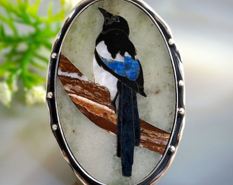 Mosaic Ring Magpie Statement Ring Sterling Silver Jewelry