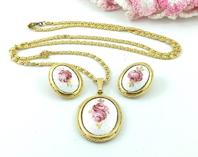 Pretty Vintage White Enamel with Pink Rose Guilloche Necklace with matching guilloche Earrings. Clip ons. Pink rose necklace & rose earrings