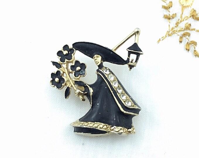 Vintage Halloween Pin, Black witch brooch with rhinestones, big lantern, big hat. Death. Black flowers.