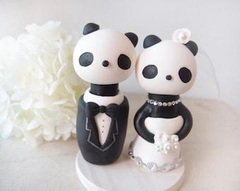 Custom Wedding Cake Toppers - Panda with base