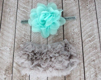 Baby Girl Ruffle Bottom Bloomer & Headband Set in Gray and Aqua - Newborn Photo Set - Infant Bloomers - Diaper Cover - Baby Gift - Birthday