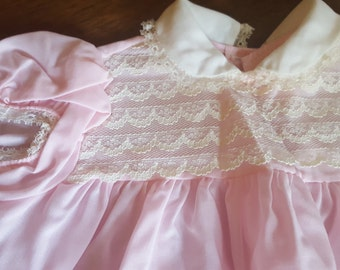 Sweet vintage pink and lace little baby dress with fox squirrel bird embroidery 1960s 1970s