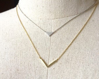 14K Gold plated over sterling silver, Triangle V Layer Necklace, Layer Necklace, Dainty Necklace, Tiny Necklace