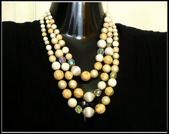 AB Crystal, Pearl & Wooden Bead Necklace, JAPAN, Aurora Borealis, Multi Strand Pearls, Chunky Necklace, Hilary Clinton Style, Gift For Her